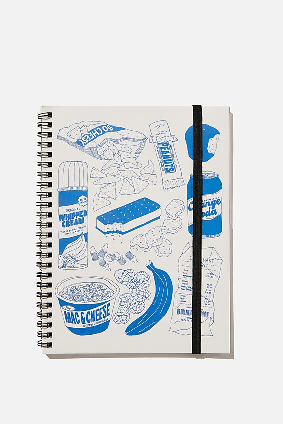 A5 Spinout Notebook Recycled, SNACKS ILLO