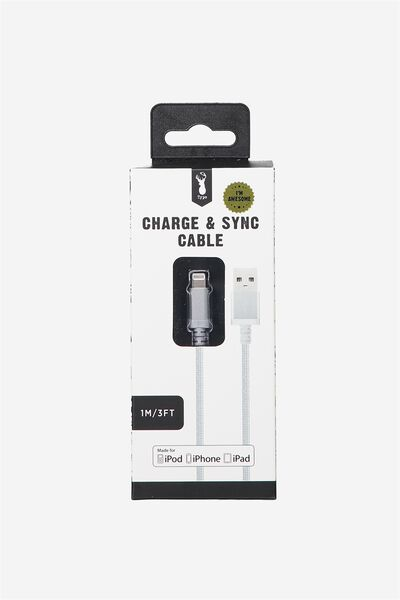 Charge And Sync Cable (Mfi) Charging Cable, SILVER