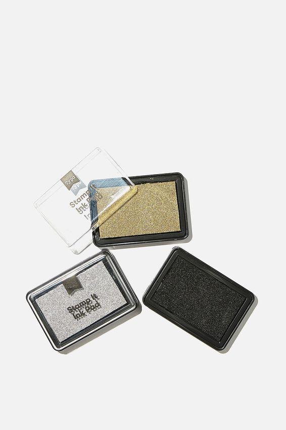 Stamp It Pad 3Pk, BLACK SILVER GOLD
