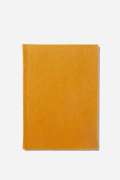 A5 Oxford Notebook, MUSTARD RIB VELVET