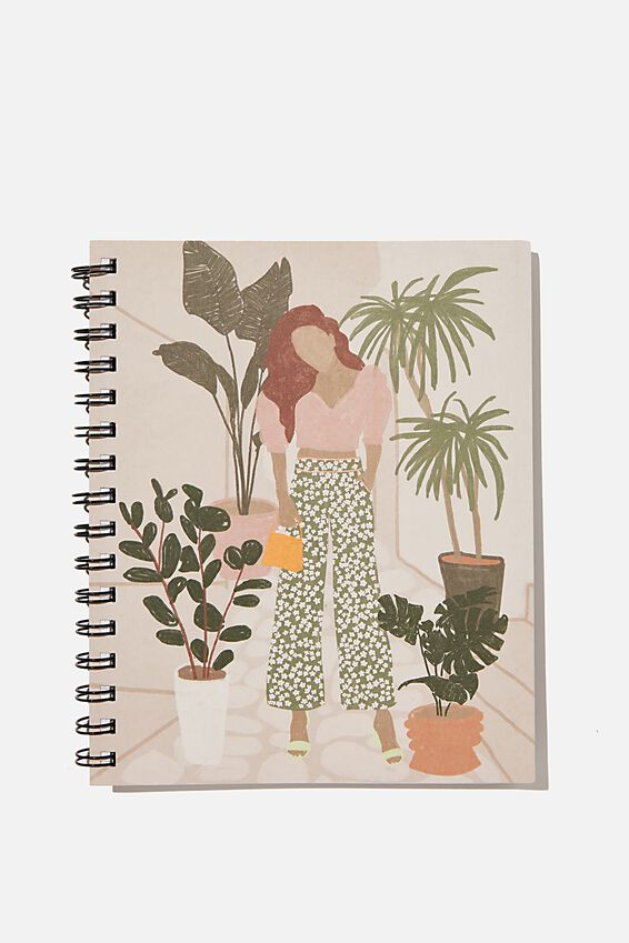 A5 Campus Notebook Recycled, GIRL AND PLANTS ILLUSTRATION