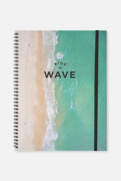 A4 Spinout Notebook - 120 Pages, RIDE THE WAVE