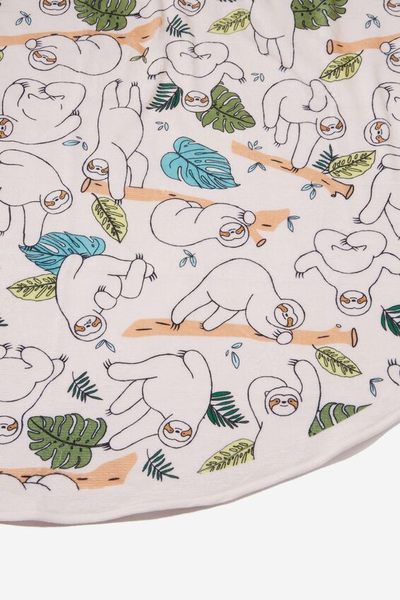 Printed Throw, ROUND SLOTHS
