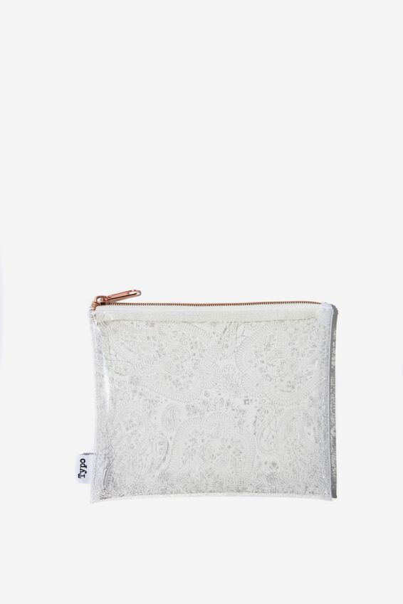 Clear It Pencil Case, WHITE MANDALA