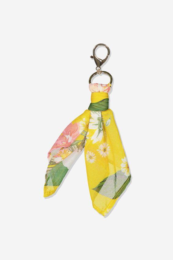 Bag Charm, MUSTARD FLORAL