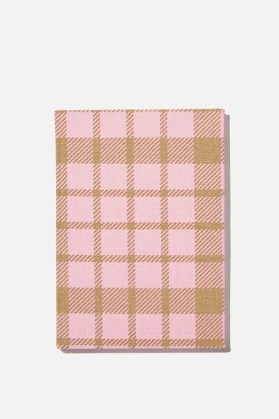 A5 Dot Oxford Notebook, RETRO PINK CHECK